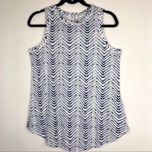 ATHLETA Shanti Tank Top Blue White Chevron Print